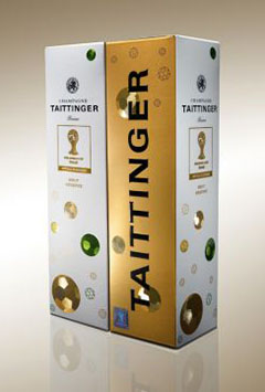 Champagne Taittinger et la coupe du monde de football - étui imprimé par le sanglier packaging edition